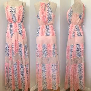 Candies lace pink and blue polka dots maxi dress